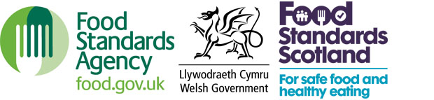 Logos for the Food Standards Agency, Welsh Government and for the Food Standards Scotland